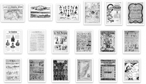 "Figure 17. Exemples de résultat : (<a href=""http://gallica.bnf.fr/ark:/12148/bpt6k658372q/f11.item"">1</a>), (<a href=""http://gallica.bnf.fr/ark:/12148/bpt6k7158889/f8.item"">2</a>), (<a href=""http://gallica.bnf.fr/ark:/12148/bpt6k6840321/f4.item"">3</a>), (<a href=""http://gallica.bnf.fr/ark:/12148/bpt6k557319t/f1.item"">4</a>), (<a href=""http://gallica.bnf.fr/ark:/12148/bpt6k522950j/f4.item"">5</a>), (<a href=""http://gallica.bnf.fr/ark:/12148/bpt6k469111r/f14"">6</a>), (<a href=""http://gallica.bnf.fr/ark:/12148/bpt6k657927g/f14.item.zoom"">7</a>)"