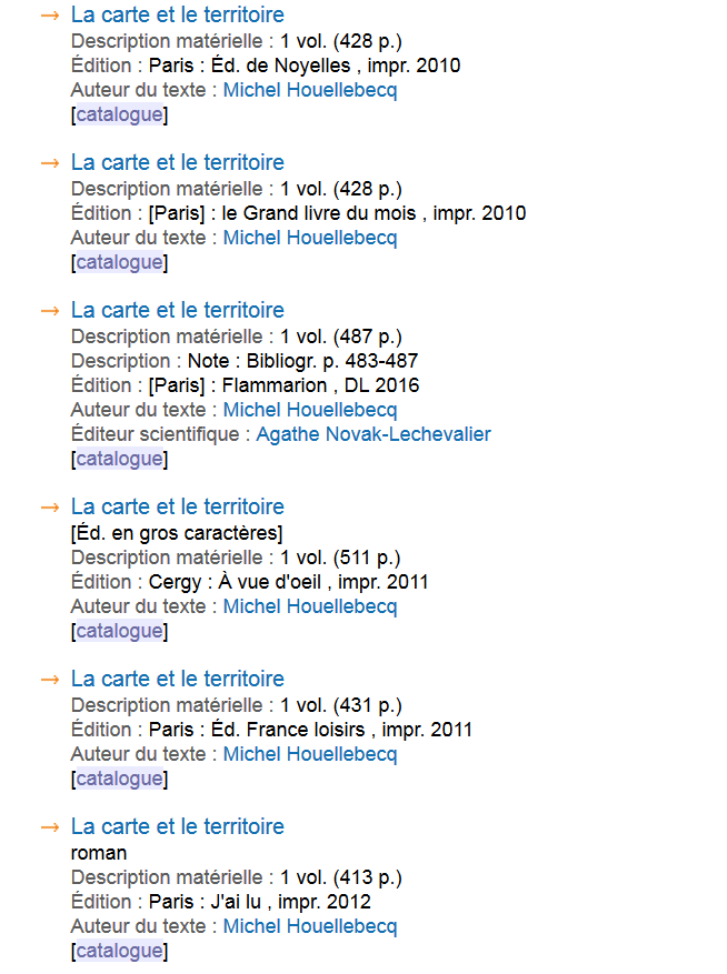 Figure 2 Liste Des Plusieurs Ditions De Loeuvre La Carte Et Le Territoire