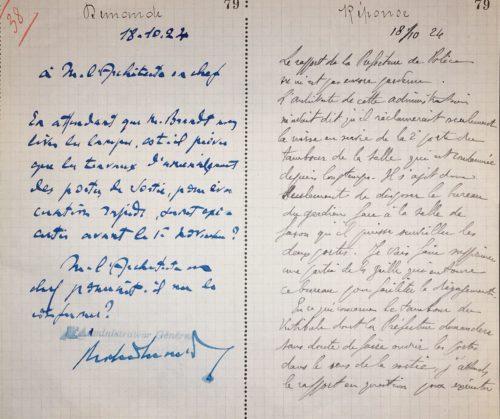 Exemple d'échange entre l'administrateur et l'architecte (2005/028/558). © BnF, Archives administratives
