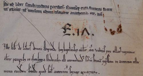 BnF lat. 14414 f.Av. L'ex-dono, en bas, est du style SV-XIIIe-A.