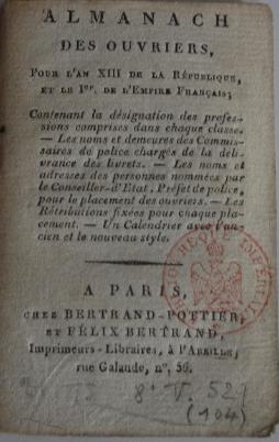 Almanach des ouvriers pour l'an XIII de la République