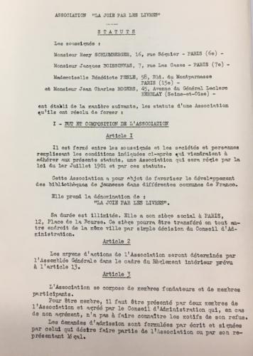 Statuts de l'association  la Joie par les livres (2019/024/1/5) . © BnF, archives administratives