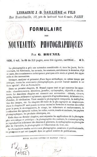 Première page du catalogue de la maison J.-B. Baillière coté 8°Q10B 1982, paru en 1896