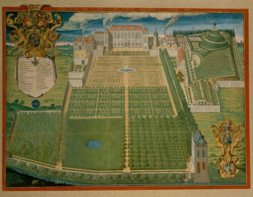 Frédéric Scalberge, Jardin du Roy pour la culture des plantes médicinales, 1636.  Estampe sur vélin mise en couleur. Muséum national d'histoire naturelle, OA 912