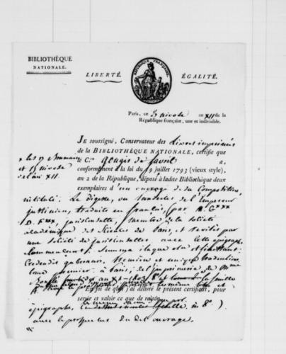Image 3. Exemplaire de récépissé, livré par les conservateurs du département des imprimés de la Bibliothèque nationale.