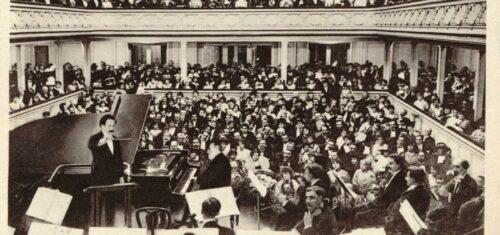 Monsieur Camillle Saint-Saëns, au piano Gaveau, à son dernier concert donné Salle Gaveau à Paris - 6 novembre 1913 - BnF, département Musique