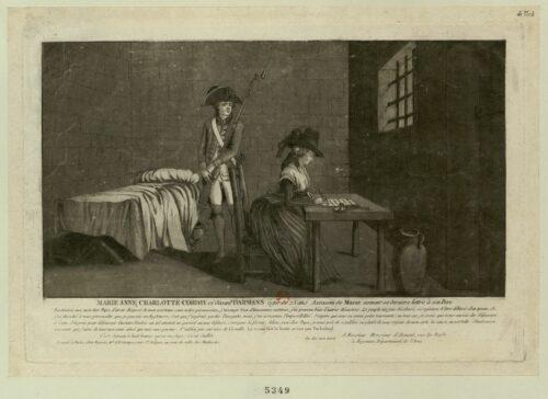 Marie Anne Charlotte Corday ci-devant Darmans, âgée de 25 ans, assassin de Marat, écrivant sa dernière lettre à son père